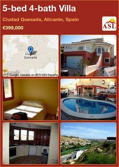 5-bed 4-bath Villa in Ciudad Quesada, Alicante, Spain ►€399,000 #PropertyForSaleInSpain