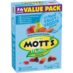Motts Medleys Fruit Flavored Snacks, Assorted - 24 count, oz box Mott's Medleys fruit snacks value pack. 24 packages Made iwth real fruit and veggie juice Fruit Snacks, Yummy Snacks, Kids Fruit, Fruit Art, Healthy Drinks, Healthy Snacks, Healthy Recipes, Gourmet Recipes, Snack Recipes