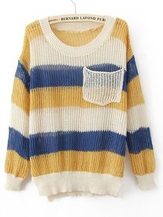 Yellow Blue Round Neck Long Sleeve Striped Pockets Cotton Blends Sweaters - Sheinside.com