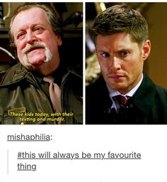 """""""These kids today with their texting and murder."""" 8x11 LARP and The Real Girl #Supernatural"""