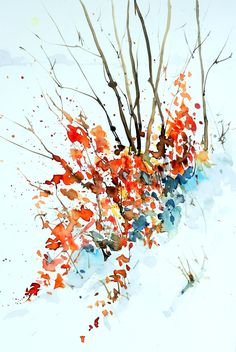 aquarell, watercolor, winter, busch, bush