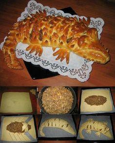 Cool gator shaped stuffed bread