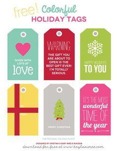 Free #Printable Colorful Christmas Gift Tags