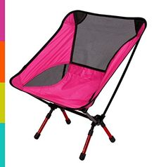 Smart Fun Ultralight Camping and Outdoor Chair  Lightweight Bright Color Adjustable Aerospace Aluminum Heavy DutyPortable Folding Convenient Rose Red * Want additional info? Click on the image.