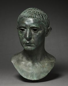 Portrait of a Man Roman, Augustan 27 B.C.-14 A.D. A fine example of the realistic portraiture of the Late Republican Period. In scattered areas the surface has been cleaned down to the metal base.