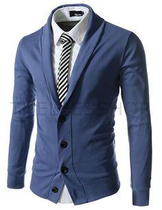(GD132-DARKBLUE) Slim Fit Collar Point Button Cardigan