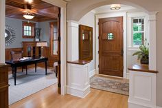 Maximizing Storage Space In Your Small Front Entry Create a foyer…Idea if we have an open floor plan Door Design, House Design, Entrance Design, Traditional Front Doors, Entry Foyer, Front Entry, Front Porch, Craftsman Style Homes, Foyer Decorating
