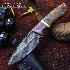 ALONZO KNIVES USA CUSTOM HANDMADE DAMASCUS HUNTING SKINNING KNIFE RAM HORN 2132 #AlonzoKnives