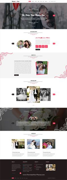 Wedding Rivel is clean and modern design #PSD template for #wedding #invitation website with 14 layered PSD pages to live preview & download click on Visit