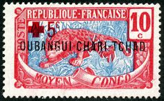 """1925 Scott 46 10c red orange & blue """"Leopard""""   Color Type of Middle Congo of 1907-22, Overprinted in Black   With Additional Overprint i..."""