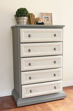 Add Metrie trim to an outdated dresser for a fresh modern makeover- full tutorial