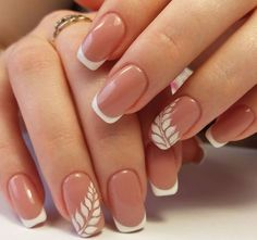White and pink combo Elegant Bridal Nails, Elegant Nails, Classy Nails, Simple Nails, Chic Nails, French Manicure Nails, Gelish Nails, Manicure E Pedicure, Beige Nails
