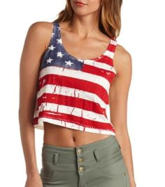 f272c05e75acd5 American Flag Print Swing Crop Top  Charlotte Russe - L