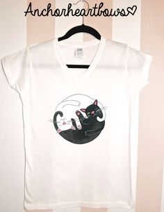 Kitty Cat Swirl V-Neck Shirt Hipster Small Medium & Large Available #186 on Etsy, $14.99