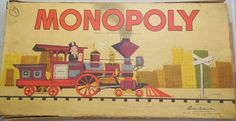 Monopoly Game from 1957, Vintage 1957 #9 Box Edition, Train Graphics Yellow Box 10 3/8 x 20  A great game for the family, hours of play or a