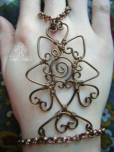 Wire Wrapped Henna Slave Bracelet Bronze by RachaelsWireGarden