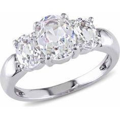 Miabella 3-1/2 Carat T.G.W. Created White Sapphire Sterling Silver 3-Stone Ring - Walmart.com