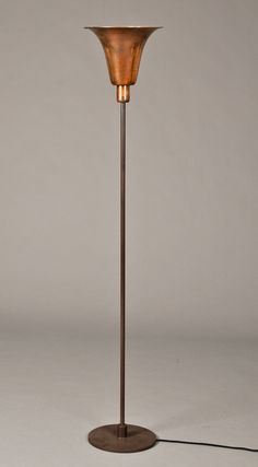Louis Poulsen. Bridge floor lamp. Art Deco floor lamp with shade of copper,  Produced by Louis Poulsen at the end of 1930