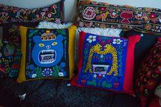 Woolen embroidery by Elin Jantze, illustrations by Maja Sten Crafts To Make, Folk Art, Diaper Bag, Textiles, Illustrations, Embroidery, Stitch, Wool, Fabric