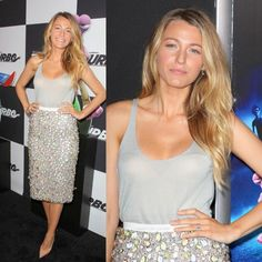 Blake lively I love her hair it looks so effortless and the outfit OMG STUNNER