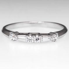 Vintage Diamond Wedding Band Ring 14K White Gold