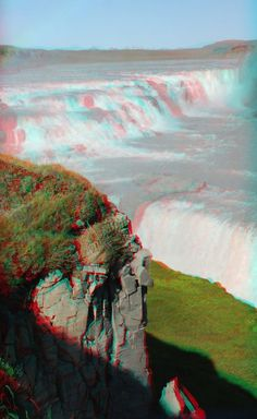 Gullfoss in stereoscopic taken with kúla deeper view with anaglyph glasses… Foto 3d, 3d Pictures, 3d Glasses, Glitch Art, Single Image, Photomontage, Trippy, Futuristic, Illusions