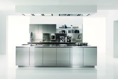 Filofree steel kitchen by Euromobil, components by #Ronda  #stainlesssteel #modern #design