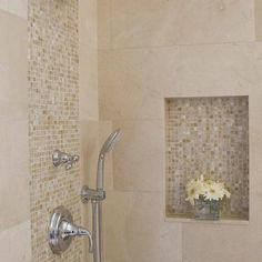 Cream Mother Of Pearl Tiles shower tile accent. Found at https://www.subwaytileoutlet.com/ Downstairs