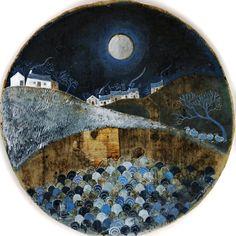 Вышивка с историей: Isabelle Haccourt Vautier & Valériane Leblond - O dan y lleuad llawn (Sous la pleine lune) Oil Paint On Wood, Painting On Wood, Cottage Art, Naive Art, Art For Art Sake, Chalkboard Art, Moon Art, Beautiful Paintings, Original Artwork