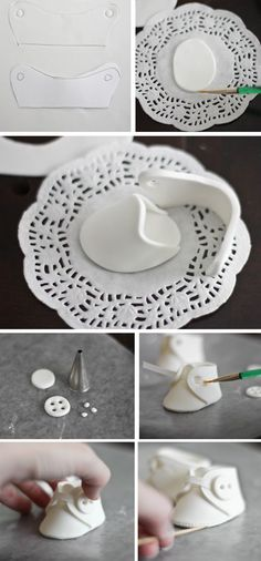The delicate practice of crafting teeny-tiny fondant shoes...I want someone I know to get pregnant just so I can try my hand at this! LOL!!