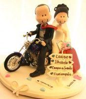 Topo de bolo Noivinhos em biscuit topo de bolo on the road dois