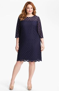 Plus size cocktail dresses with sleeves - Adrianna Papell Polka Dot Lace Dress - Plus Size Navy.jpg