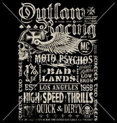 Outlaw racing vintage poster t-shirt graphic vector by krookedeye on VectorStock®