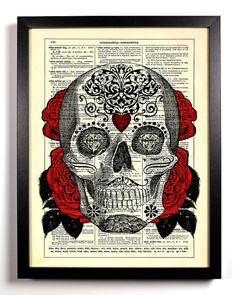 Sugar Skull 2 Day of the Dead Repurposed Book Upcycled Dictionary Art Vintage Book Print Recycled Vintage Dictionary Page Buy 2 Get 1 FREE on Etsy, $6.99