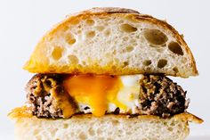 Egg in a Hole Grilled Cheese Breakfast Burger Recipe.