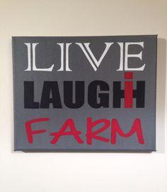 "Case IH International Farmall Live*Laugh*Farm 8""x10"" canvas sign"