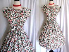 Vintage 1950s 60s Dress Swirl Wrap Dress Fruit Novelty Print Full Skirt  #Swirl