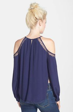 Cold shoulder top back Moda Lolita, Cute Shirts, Lace Detail, Casual Looks, Off Shoulder Blouse, Cold Shoulder, Silk, My Style, Outfits