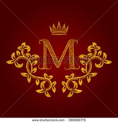 Patterned golden letter M #monogram in vintage style. Heraldic coat of arms. Baroque #logo template.