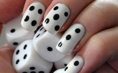 DIY Minimalist Monochrome Manicures Cool dice nails Might try this for kids who don't know what number is represented by each finger. Could help them catch onto this concept.Help Help may refer to: Nails Polish, Nail Polish Designs, Nail Art Designs, Pedicure Designs, Cute Easy Nail Designs, Black And White Nail Art, White Nails, Black Dots, Black White