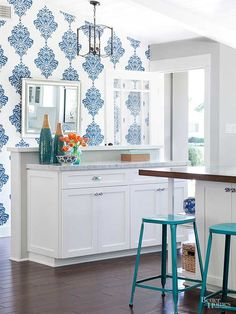Add pattern to your walls without visual overload. Choose one accent wall in a room to cover with wallpaper that shares at least one color with your other walls. An accent wall injects an artistic touch while saving decorating time and dollars. If you're repainting the walls, too, do those first and paper last.