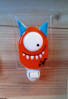 Handmade fused glass nightlight by Karine Foisy.  karine.enverre@gmail.com  For your little monster!