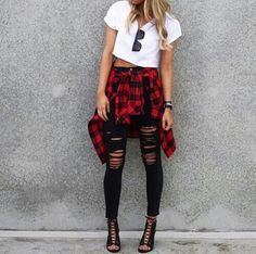 Ripped jeans, lace-up shoes