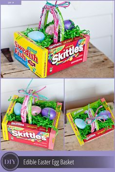 A DIY edible Easter egg basket - this is wonderfully easy to put together, and will be a hit on Easter. gifts ideas for Easter Easter Candy, Hoppy Easter, Easter Treats, Easter Egg Basket, Easter Eggs, Easter Food, Easter Table, Homemade Easter Baskets, Easter Stuff