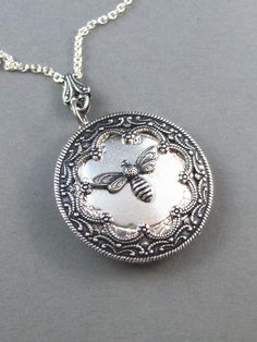 Queen Bee Silver Locket. Antiqued Silver,Charm,Wings,Honey,Mother. Handmade jewelery by valleygirldesigns on Etsy.