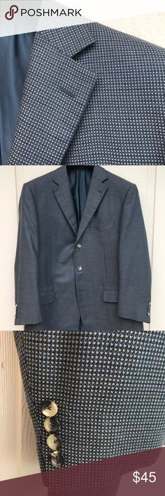 Italian Pal Zileri blue sport coat 42S  Beautiful dark and light blue houndstooth weave is in this Italian made sport coat from Pal Zileri. 42S. Gently worn. Pal Zileri Suits & Blazers Sport Coats & Blazers