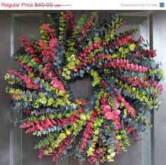 Eucalyptus Wreath, Preserved Dried Floral Wreath, Choose your Color Combination, Wall Decor