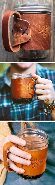 Mason jar travel mug with leather cozy handle #product_design