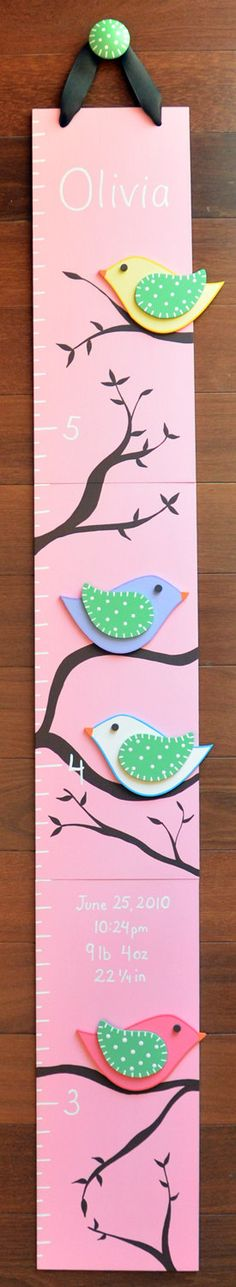 Tweeting Birds Wooden Growth Chart FREE nail by LittleElephantCo, $74.99