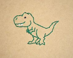 Dinosaur T-Rex Embroidered Notebook Embroidery On Clothes, Cute Embroidery, Shirt Embroidery, Hand Embroidery Stitches, Cross Stitch Embroidery, Simple Embroidery Designs, Learning To Embroider, Tyrannosaurus, Jute